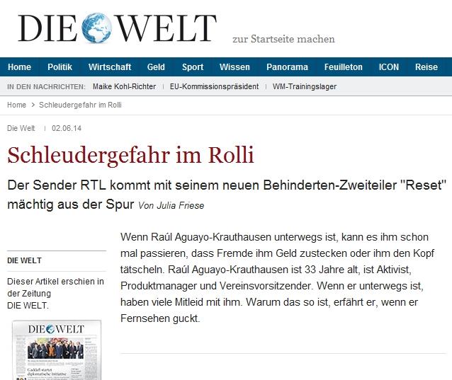 """Die Welt: Schleudergefahr im Rolli – zum neuen Behinderten-Zweiteiler """"Reset"""" im RTL"""