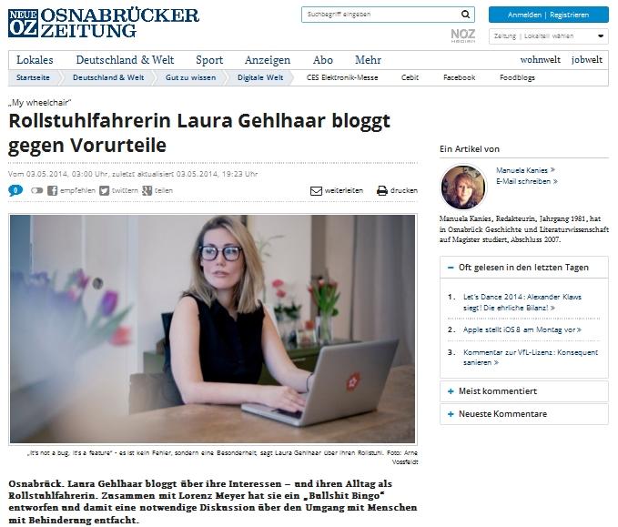 """Screenshot von einem Artikel, mit der Überschrift """"Rollstuhlfahrerin Laura Gehlhaar bloggt gegen Vorurteile"""""""