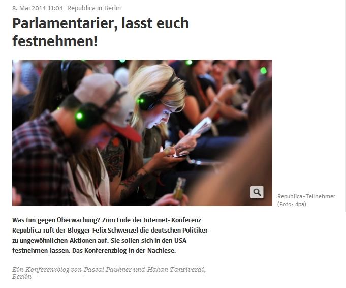 Süddeutsche Zeitung: Republica in Berlin – Parlamentarier, lasst euch festnehmen!