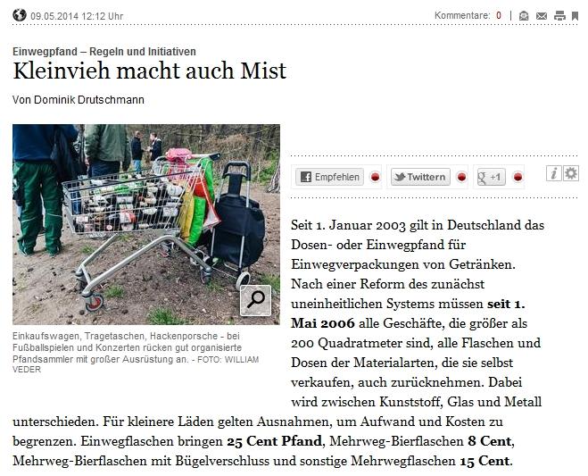 Tagesspiegel: Kleinvieh macht auch Mist: Einwegpfand – Regeln und Initiativen