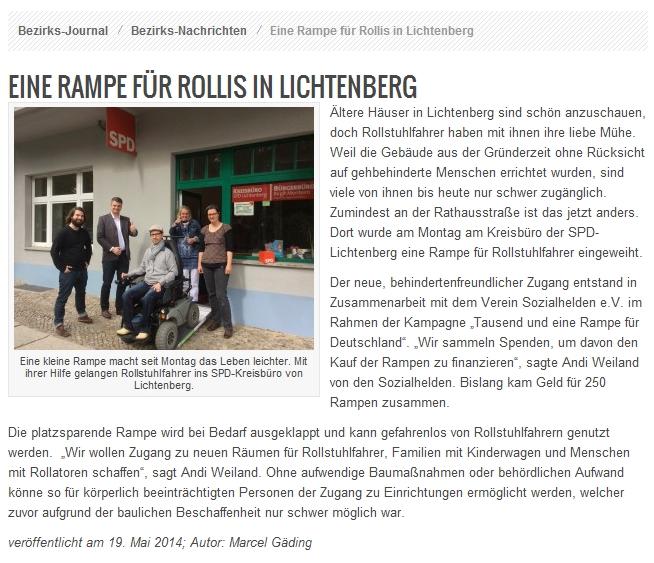 Bezirks-Journal: Eine Rampe für Rollis in Lichtenberg