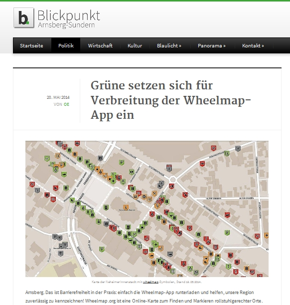 Blickpunkt Arnsberg-Sundern: Grüne setzen sich für Verbreitung der Wheelmap-App ein