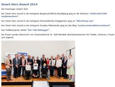 Sozialhelden e.V. erhält den Smart Hero Award mit Wheelmap.org