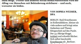 Mittelbayerische: Bloggen über den Alltag mit Behinderung