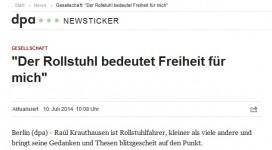 """dpa: Raúl Krauthausen: """"Der Rollstuhl bedeutet Freiheit für mich"""""""