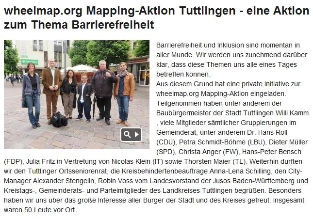 MyHeimat.de: wheelmap.org Mapping-Aktion Tuttlingen