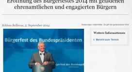 Screenshot von der Seite des Bundespräsidenten mit Joachim Gauck