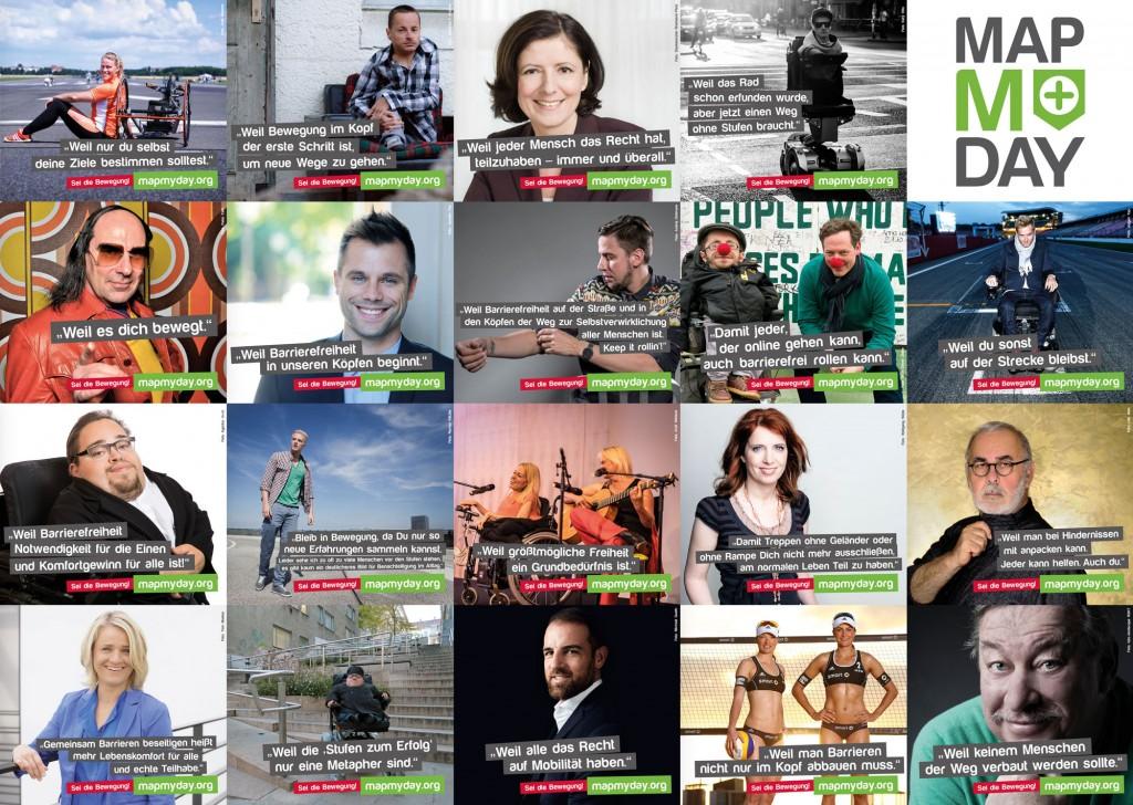 Eine Collage mit den Bildern der Unterstützer von MapMyDay