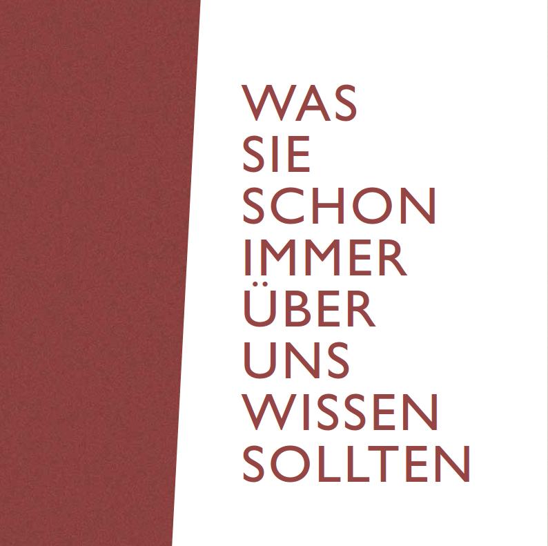"""Bild vom Titelblatt mit dem Text """"Was sie schon immer über uns wissen sollten"""""""