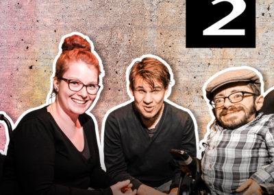Titelbild des Podcasts Die Neue Norm, mit den Protagonist:innen Raul Krauthausen, Jonas Karpa und Judyta Smykowski