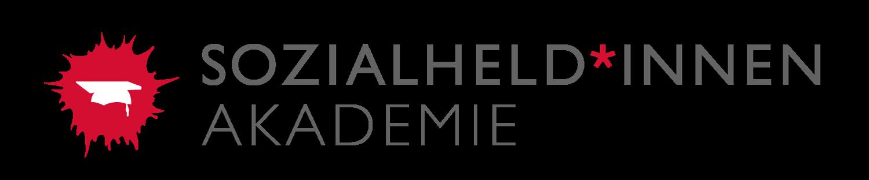 Logo Sozialheldinnen-Akademie: Ein roter Farbklecks und in der Mitte ein weißer Doktorhut. Daneben Schriftzug Sozialheld*innen Akademie