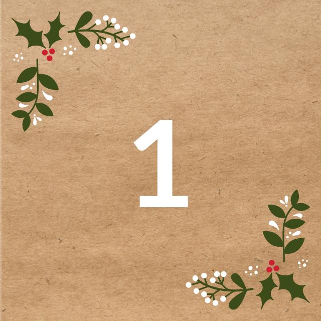 Zahl 1, auf braunen Untergrund mit Adventsdesign