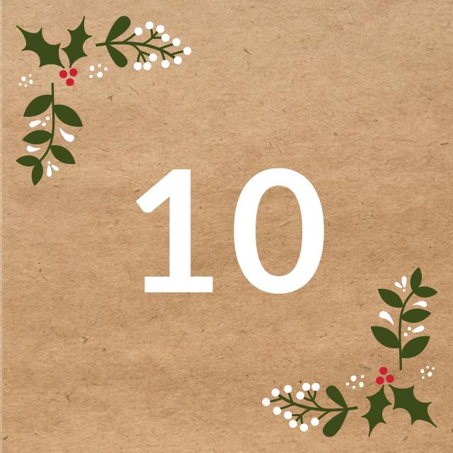 Zahl 10, auf braunen Untergrund mit Adventsdesign