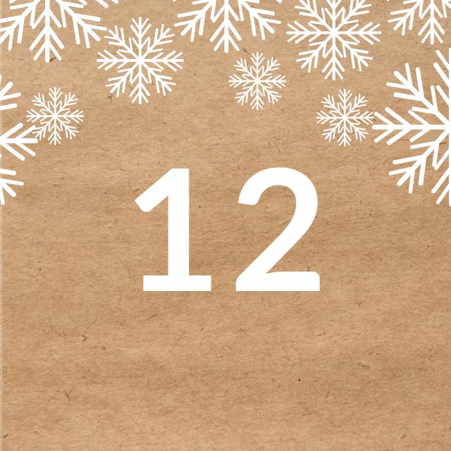 Zahl 12, auf braunen Untergrund mit Adventsdesign