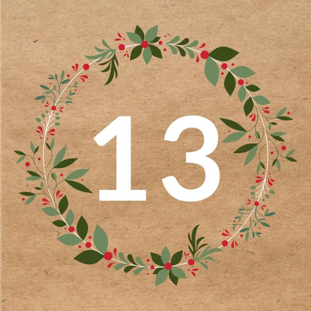 Zahl 13, auf braunen Untergrund mit Adventsdesign