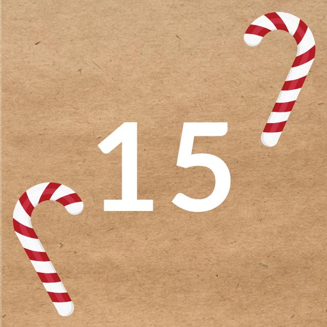 Zahl 15, auf braunen Untergrund mit Adventsdesign
