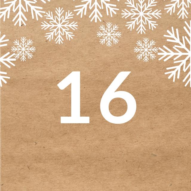 Zahl 16, auf braunen Untergrund mit Adventsdesign