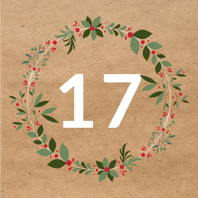 Zahl 17, auf braunen Untergrund mit Adventsdesign