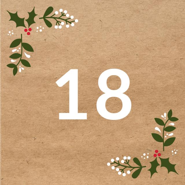 Zahl 18, auf braunen Untergrund mit Adventsdesign