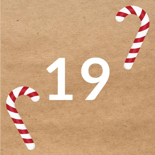 Zahl 19, auf braunen Untergrund mit Adventsdesign