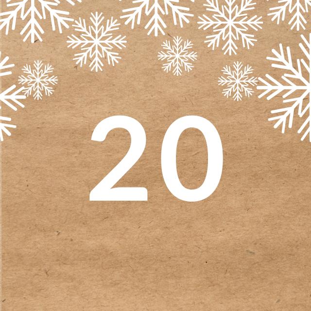 Zahl 20, auf braunen Untergrund mit Adventsdesign