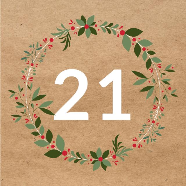 Zahl 21, auf braunen Untergrund mit Adventsdesign