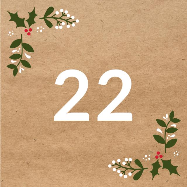 Zahl 22, auf braunen Untergrund mit Adventsdesign