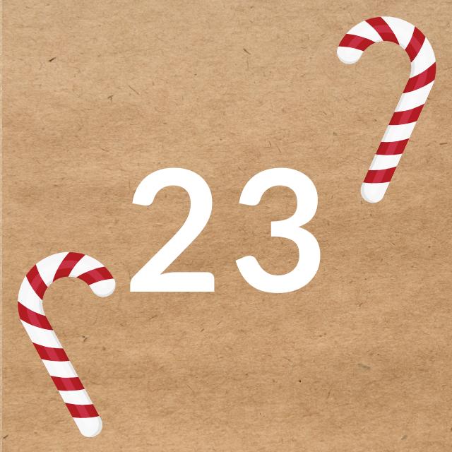 Zahl 23, auf braunen Untergrund mit Adventsdesign