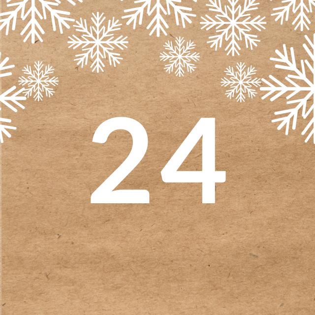 Zahl 24, auf braunen Untergrund mit Adventsdesign