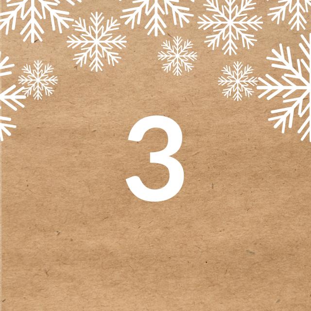 Zahl 3, auf braunen Untergrund mit Adventsdesign