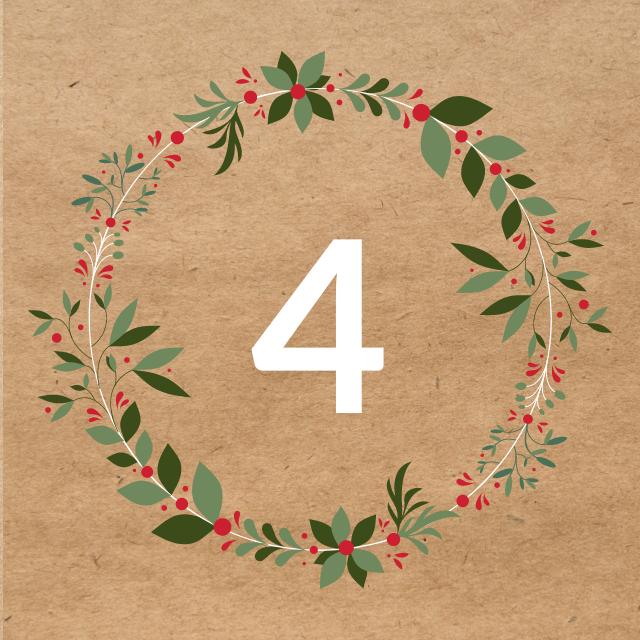 Zahl 4, auf braunen Untergrund mit Adventsdesign