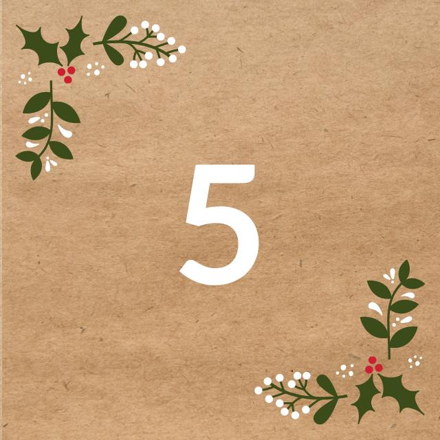 Zahl 5, auf braunen Untergrund mit Adventsdesign