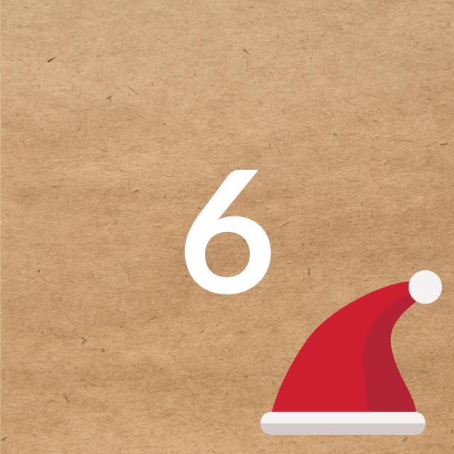 Zahl 6, auf braunen Untergrund mit Adventsdesign