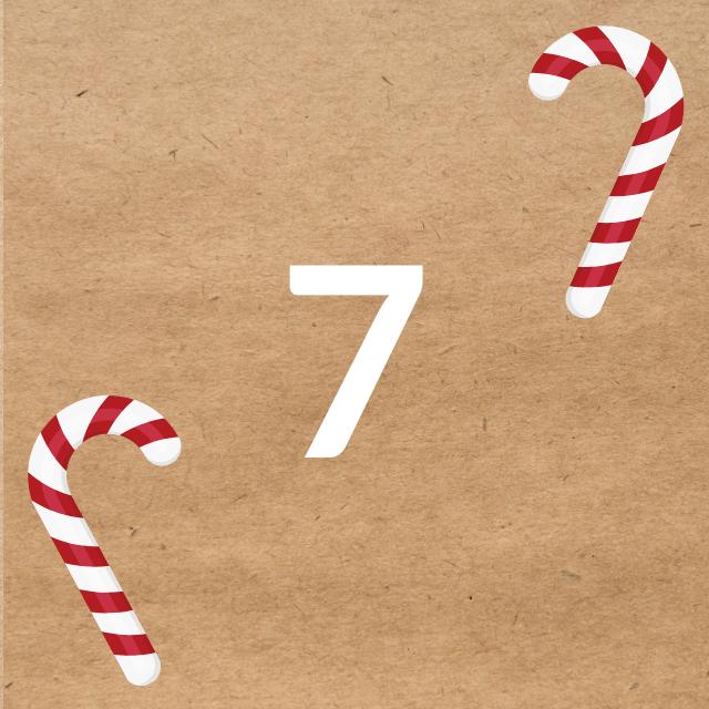 Zahl 7, auf braunen Untergrund mit Adventsdesign
