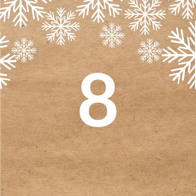 Zahl 8, auf braunen Untergrund mit Adventsdesign