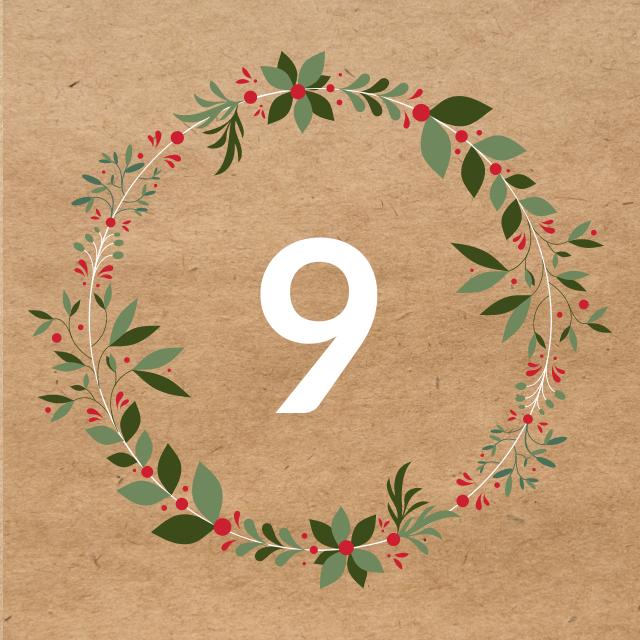 Zahl 9, auf braunen Untergrund mit Adventsdesign