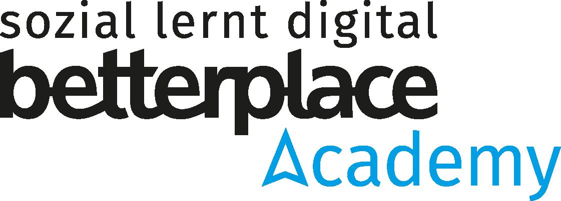 """Logo der """"betterplace academy"""" mit der Überschrift """"sozial lernt digital"""""""