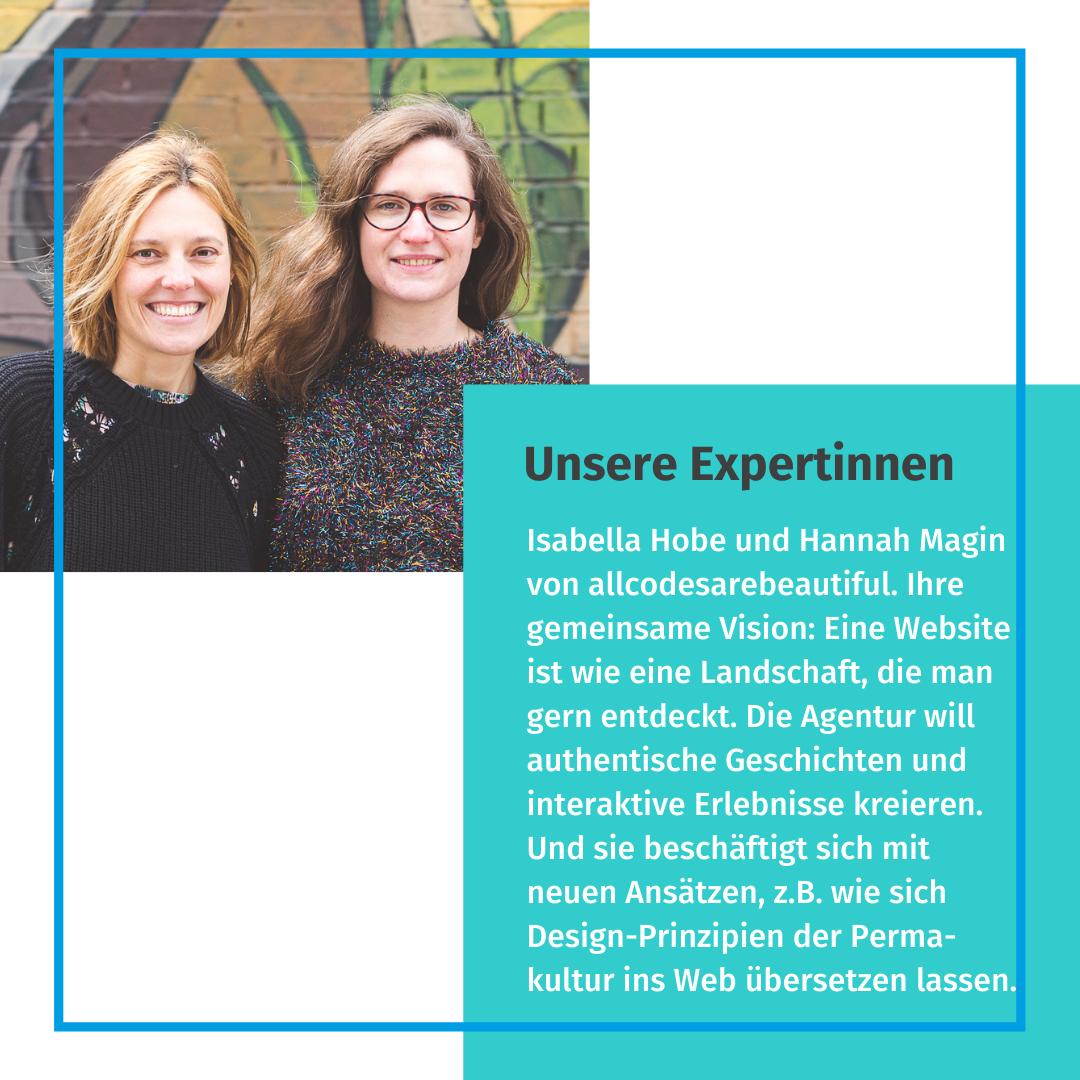 Foto von Isabelle Hobe und Hannah Magin. Beide stehen vor einer bunt bemalten Wand und lächeln in die Kamera. Daneben Text in türkisem Kasten über das Projekt allcodesarebeautiful.