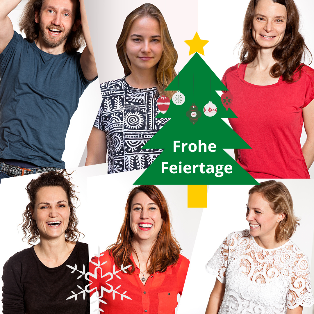 Team der betterplace academy (6 Personen) lächelnd als Fotocollage mit grünem Tannenbaum und weißer Schrift: Frohe Feiertage.