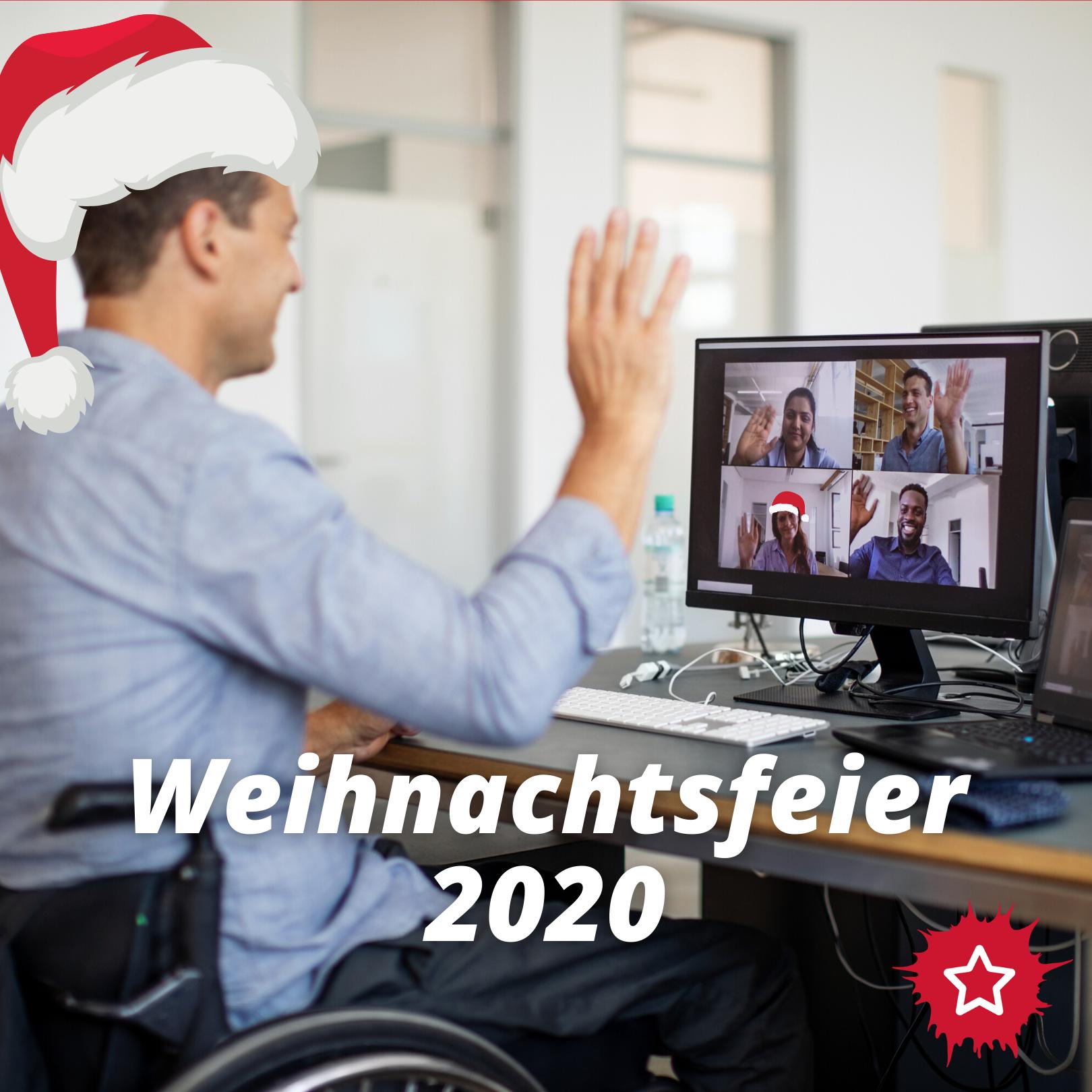 Mann sitzt vor Laptop und trägt rote Weihnachtsmütze. Er winkt seinen Kolleg*innen zu, die ihn aus einem Video-Meeting anschauen. Darunter weiße Schrift Weihnachtsfeier 2020.